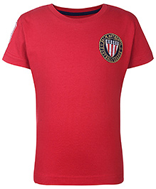 Palm Tree Half Sleeves T-Shirt Football League Logo Patch - Cherry Red