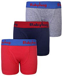 Babyhug Briefs Set Of 3 - Red Grey n Navy Blue