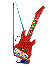Prasid Mini Guitar With Microphone - Red And Dark Green