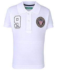 Palm Tree Half Sleeves Polo T-Shirt Number 9 Embroidery - White
