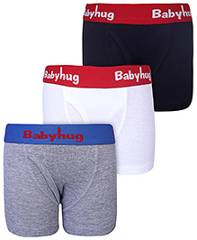 Babyhug Briefs Set Of 3 - Black Grey n White