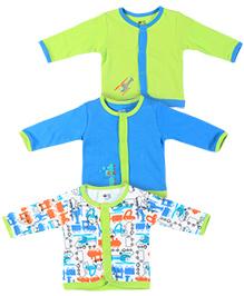 FS Mini Klub Full Sleeves Vests Set of 3 - Green And Blue
