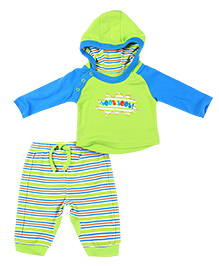 FS Mini Klub Hooded T-Shirt And Legging Set - Blue And Green