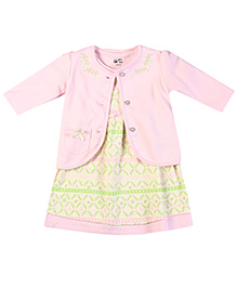 FS Mini Klub Nordic Dress With Shrug Printed - Pink And Green