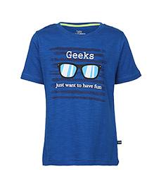 Bells and Whistles Half Sleeves T-Shirt Geeks Print - Blue