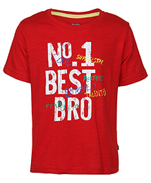 Bells and Whistles Half Sleeves T-Shirt Caption Print - Red