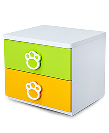 Alex Daisy Wooden Bedside Table Panda - Yellow And Green
