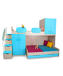 Alex Daisy Wooden Play Bunk Bed - Blue And Maple