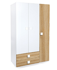 Alex Daisy Wooden Three Door And Two Drawer Wardrobe Oak - Brown