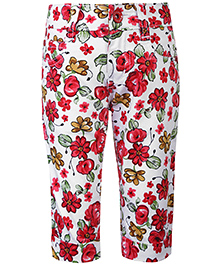 Babyhug Capri Floral Print - White And Red