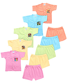 Cool Baby Half Sleeves Vest And Shorts Set Of 5 - Multicolour