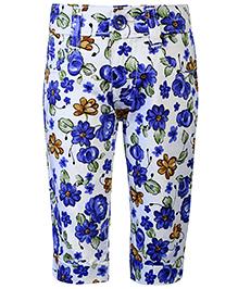 Babyhug Capri Floral Print - White And Blue