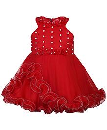 Babyhug Yoke Neck Dress Ruffles And Pearl Work - Red