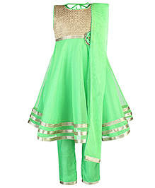 Babyhug Kurta And Churidar With Dupatta Embroidery - Green
