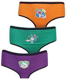 Doraemon Print Panties Set Of 3 - Orange Purple And Green