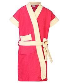 Babyhug Half Sleeves Two Tone Bathrobe - Coral