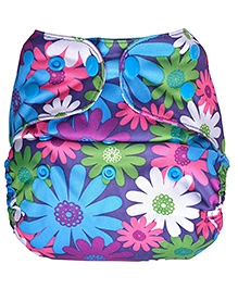 Bumberry Pocket Cloth Diaper With Insert Floral Print - Pink Blue And Purple