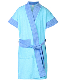 Babyhug Half Sleeves Two Tone Bathrobe - Sky Blue