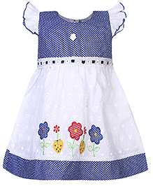 Babyhug Frock Floral Embroidery - Blue And White