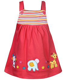 Babyhug Singlet Frock With Animal Motif- Red