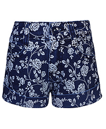 Babyhug Hot Shorts Floral Print - Royal Blue