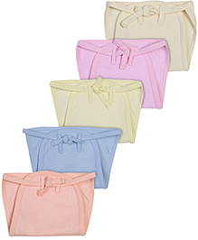 Babyhug Padded Fabric String Tie Up Nappy Small Solid Colors - Pack of 5