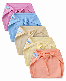 Babyhug Interlock Fabric Nappy With String Tie Up Small - Pack Of 5