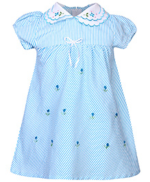 Babyhug A Line Frock Floral Embroidery - Aqua