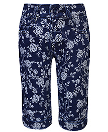 Babyhug Denim Capri Floral Print - Navy Blue