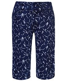 Babyhug Denim Capri Leaves And Bird Print - Navy Blue