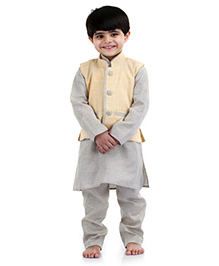 Babyhug Kurta Pajama And Jacket - Light Yellow