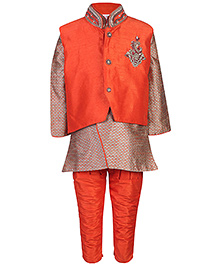 Babyhug Kurta And Pajama With Jacket Diamond Work - Orange