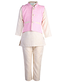 Babyhug Kurta Pajama And Jacket - Pink