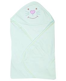 Zero Hooded Cotton Wrapper Cat Motif - Light Green