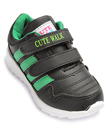 Cute Walk Sports Shoes With Dual Velcro Closure - Green And Black