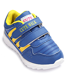 Cute Walk Sports Shoes With Dual Velcro Closure - Yellow And Blue