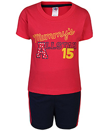 Paaple Half Sleeve T-Shirt And Shorts Set - Tomato Red And Black
