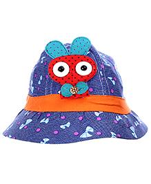 Babyhug Summer Cap With Bunny Applique - Blue And Orange