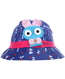 Babyhug Summer Cap With Bunny Applique - Blue And Pink