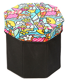 Storage Box With Cover Hexagon Shape Multicolour Floral Print - Black