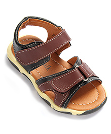 Cute Walk Sandals Dual Velcro Strap - Black And Brown