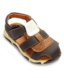 Cute Walk Sandals With Velcro Closure - Dark Brown