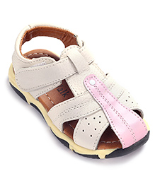 Cute Walk Sandals With Velcro Closure - White