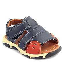 Cute Walk Sandals With Velcro Strap - Blue And Brown