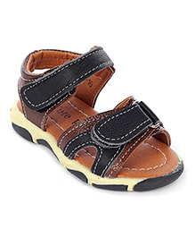 Cute Walk Sandals Dual Velcro Strap - Brown And Black