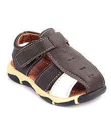Cute Walk Sandals With Velcro Strap - Dark Brown