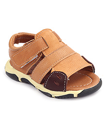 Cute Walk Sandals With Velcro Strap - Light Brown