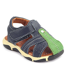 Cute Walk Sandals With Velcro Strap - Blue And Green