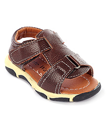 Cute Walk Casual Sandals With Velcro Strap - Brown