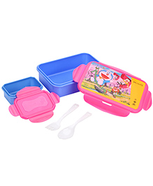 Doraemon Lunch Box With Small Container - Pink And Blue